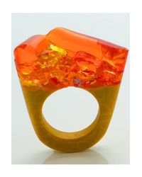 Pasionae - Orange Murano Ring Opaque Base- Hatred - Lyst