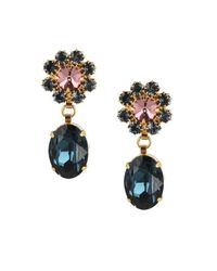 Otazu   Metallic 14kt Gold-plated Earrings With Pink Swarovski Crystals   Lyst