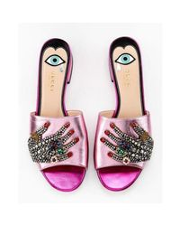 Gucci Wangy Jeweled Pink Leather Mule