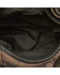 Fendi Pre-loved Brown Dark Canvas Fabric Knot Shoulder Bag Italy