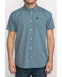 RVCA - Blue Front Lawn Short Sleeve Shirt for Men - Lyst