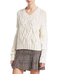 79f3f2aa6cd Lyst - McQ Cable-knit Wool-blend Sweater in White