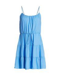 Alice + Olivia Blue Cheyla Drawstring Ruffle Dress
