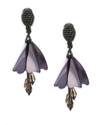 Oscar de la Renta - Purple Small Impatiens Clip-on Earrings - Lyst