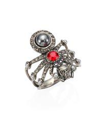 Alexander McQueen - Metallic Spider Skull Crystal Ring - Lyst