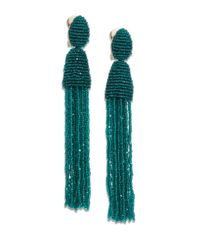Oscar de la Renta - Green Long Beaded Tassel Clip-on Earrings - Lyst