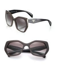 Prada Brown Angular 56mm Pentagonal Sunglasses