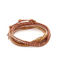 Chan Luu - Metallic Tri-tone Beaded Leather Multi-row Wrap Bracelet - Lyst