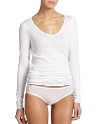 Skin | White Organic Pima Cotton V-neck Tee | Lyst