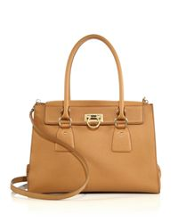 Ferragamo | Natural Lotty Medium Satchel | Lyst