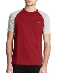 Fred Perry | Red Raglan Tee for Men | Lyst