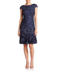 THEIA Blue Embellished Sheath Dress
