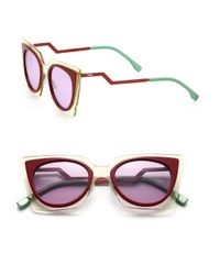 Fendi | Purple Zig-zag 49mm Cat Eye Sunglasses | Lyst