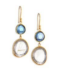 Lena Skadegard | Metallic Moss Aquarmaine, Rutilated Quartz & 18k Yellow Gold Drop Earrings | Lyst