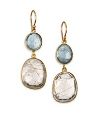 Lena Skadegard Metallic Rutilated Quartz, Moss Aquamarine & 18k Yellow Gold Double-drop Earrings