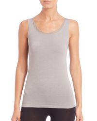 Wolford - Gray Athens Tulle-trim Top - Lyst