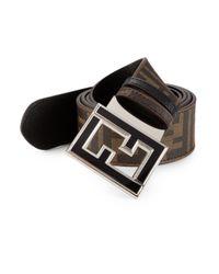 Fendi - Black Zucca Reversible Leather Belt for Men - Lyst