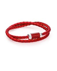 Tateossian | Red Leather, Carbon Fiber & Sterling Silver Bicolor Braided Bracelet for Men | Lyst
