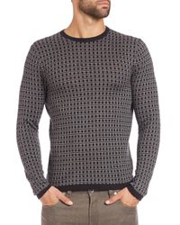 Saks Fifth Avenue | Gray Jacquard Square Print Sweater for Men | Lyst