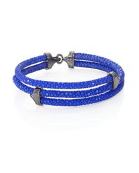 Stinghd | Blue Blackened Silver & Stingray Triangle Wrap Bracelet for Men | Lyst