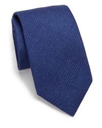 Saks Fifth Avenue | Blue Solid Plaid Silk & Wool Tie for Men | Lyst