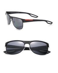Prada - Black 58mm Square Sunglasses for Men - Lyst