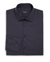Saks Fifth Avenue   Blue Modern Regular-fit Checked Cotton Dress Shirt for Men   Lyst