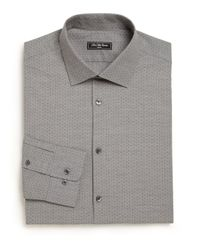 Saks Fifth Avenue   Gray Modern Regular-fit Diamond Dress Shirt for Men   Lyst