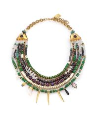 Lizzie Fortunato | Metallic Riad 4mm-9mm Peacock Pearl & Semi-precious Multi-stone Draped Bib Necklace | Lyst