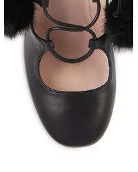 Gucci - Pink Lace-Up Fur Pom-Pom Leather Boots - Lyst