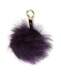 Adrienne Landau | Purple Fox Fur Pom-pom Keychain | Lyst