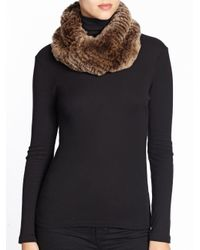 Surell | Brown Sheared Rabbit Fur Infinity Scarf | Lyst