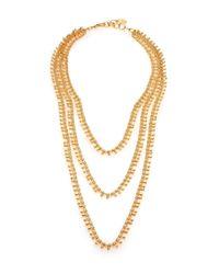 Nest Metallic Three-strand Teardrop Chain Necklace
