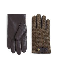 Polo Ralph Lauren | Brown Quilted Hybrid Leather Touch Gloves for Men | Lyst