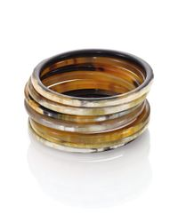 Nest | Brown Natural Horn Seven-bangle Bracelet Set | Lyst