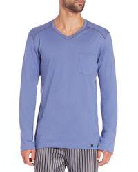 Hanro - Blue Alphonse Long-sleeved Cotton T-shirt for Men - Lyst