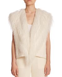 Helmut Lang | White Lamb Shearling & Knit Vest | Lyst