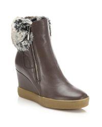Aquatalia Black Caroline Leather & Faux Fur Wedge Booties