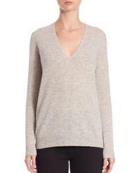 Theory | Gray Adrianna Cashmere V-neck Sweater | Lyst