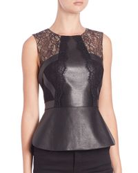 BCBGMAXAZRIA | Black Laine Leather Lace Peplum Top | Lyst