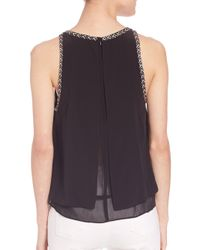 Rebecca Taylor - Black Silk Embroidered Top - Lyst