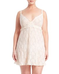 Hanky Panky | Natural Plus Size Ruffle-trimmed Rosalyn Chemise | Lyst