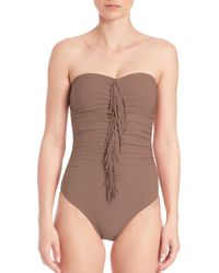 Karla Colletto | Brown One-piece Strapless Fringe Swimsuit | Lyst