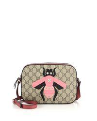 Gucci | Natural Gg Supreme Bee Shoulder Bag | Lyst