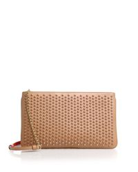 Christian Louboutin | Natural Loubiposh Studded Leather Clutch | Lyst