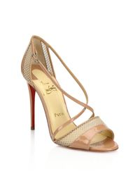Christian Louboutin | Natural Silkova 100 Patent Leather & Mesh Sandals | Lyst