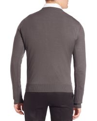 Emporio Armani - Gray Wool V-neck Sweater for Men - Lyst
