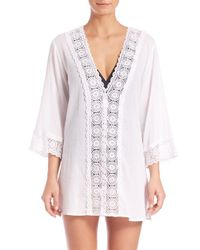 La Blanca Pink Crochet-trim Tunic Cover-up