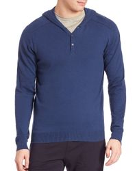 Saks Fifth Avenue | Blue Hooded Cotton & Cashmere Sweater for Men | Lyst