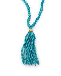 Kenneth Jay Lane | Blue Beaded Resin Tassel Necklace | Lyst
